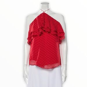 Rebecca Taylor Red Polka Dot Silk Halter Blouse